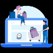 ilustración comercia tienda en línea