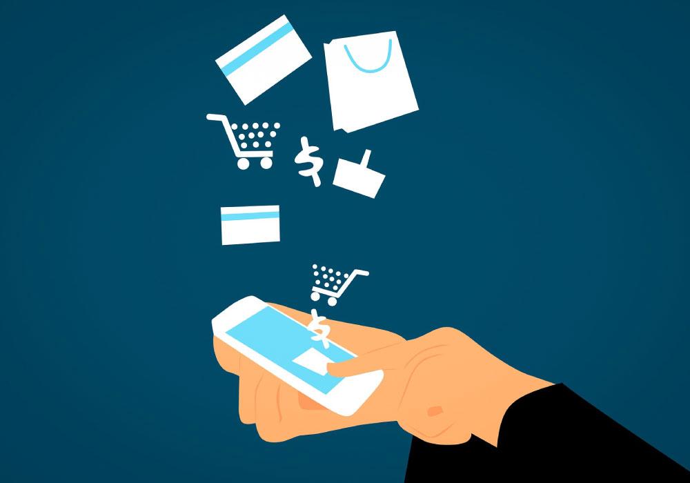 ilustración comercio electrónico punto de venta en app, celular