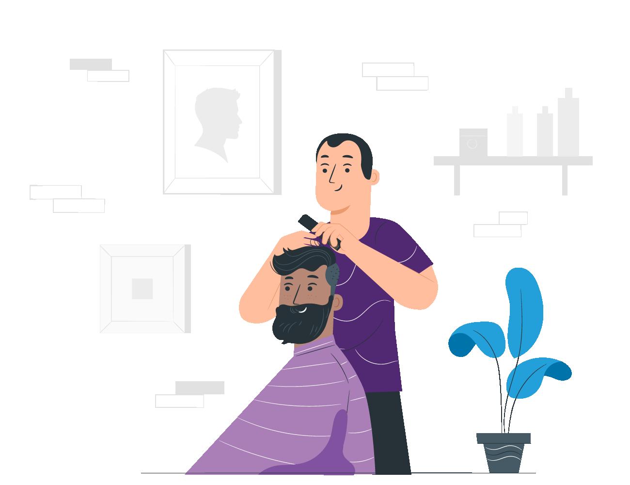 ilustración de barbero y cliente