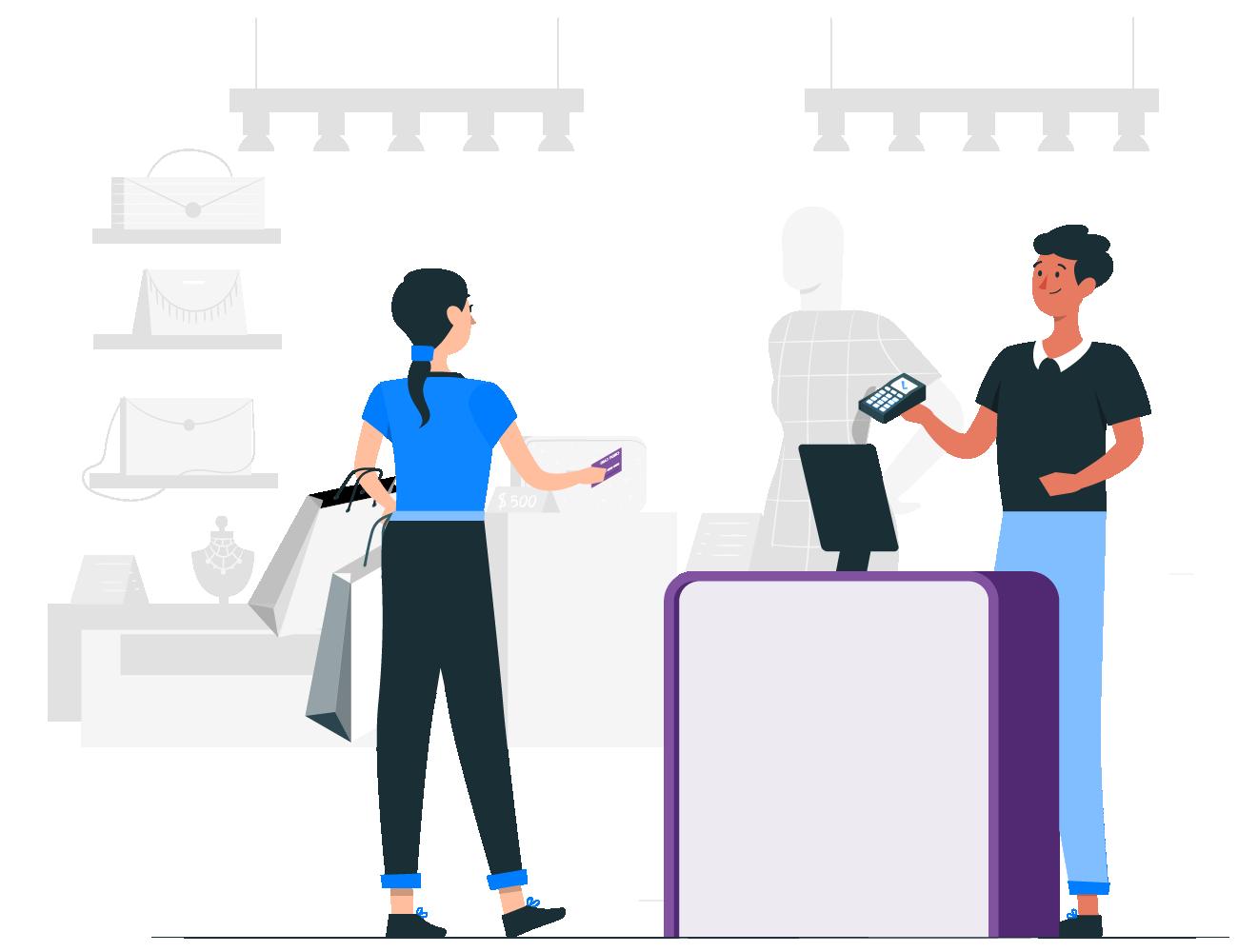 ilustración de pago con terminal
